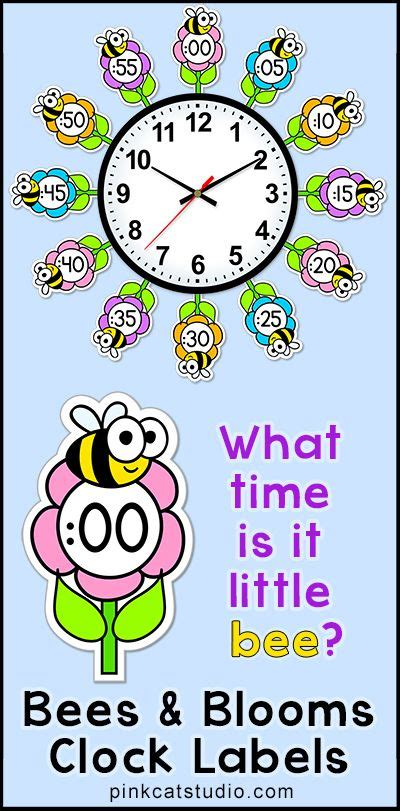 printable clock labels for classroom telling time clock labels flowers bees theme classroom