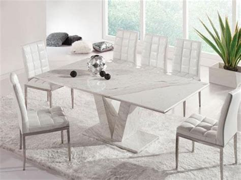 White Dining Table And Chairs by Hera White Grey Marble V Leg Dining Table And 6 Chairs