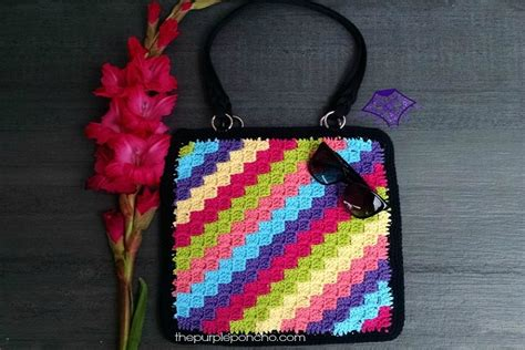 crochet pattern stash bag c2c crochet tote bag pattern the purple poncho