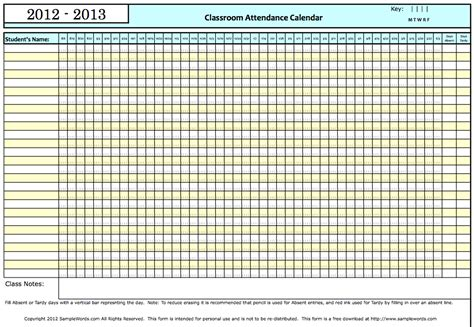 8 Best Images Of Attendance Grid For 2013 Printable Free Printable Attendance Sheets Teacher Best Photos Of Free Printable Attendance Calendar 2013 School Attendance Calendar Printable
