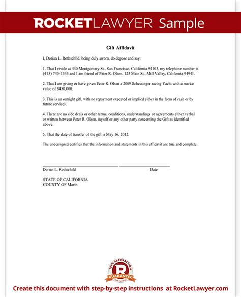 Gift Letter Irs Gift Affidavit Form Affidavit Of Gift Template With Sle