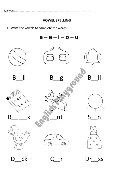 vowel spelling for year 1 students english for 6 to 7