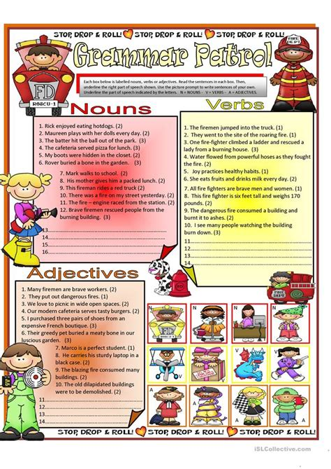 Nouns Verbs Adjectives Worksheet by Nouns Verbs Adjective Worksheet Free Esl Printable
