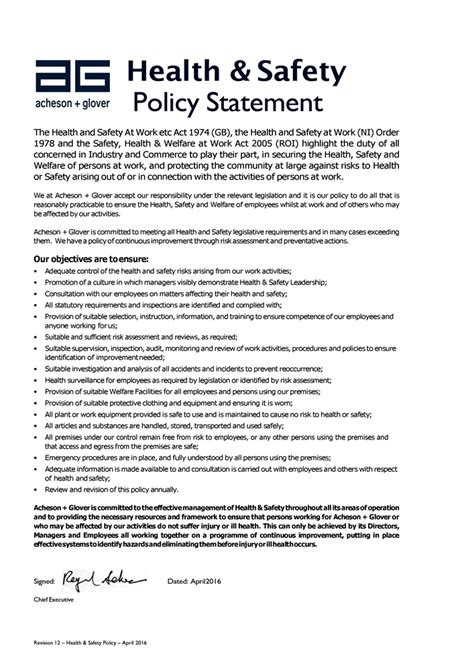health and safety statement template health and safety policy exles pictures to pin on