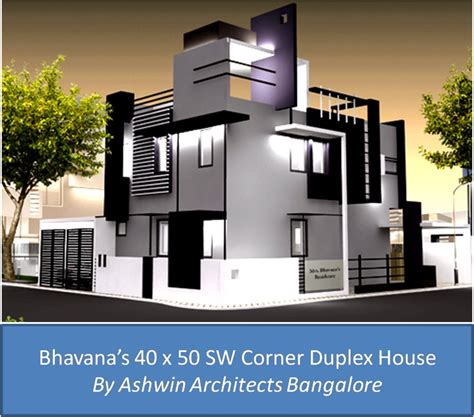 corner house design front elevation design for bhavana s 40 x 50 sw corner duplex house in bangalore