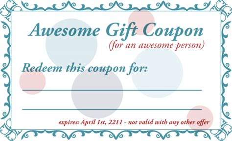 Printable Gift Coupon Template For Birthdays for any
