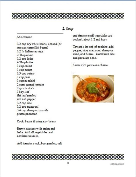 pages cookbook template cookbook software for and printing a family recipe book