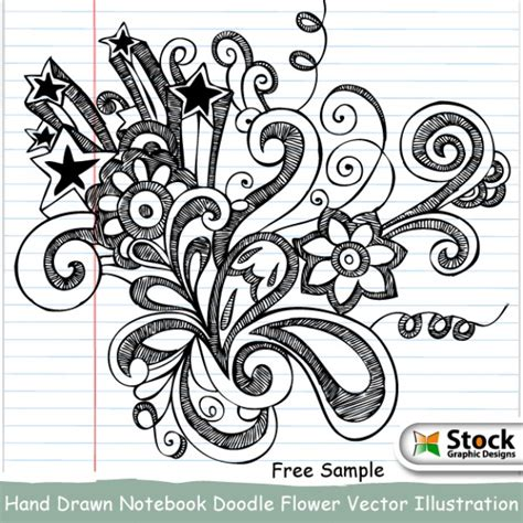 free editing doodle notebook doodle flower vector illustration