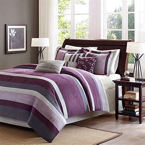 bed bath and beyond boulder madison park boulder stripe 7 piece comforter set in plum