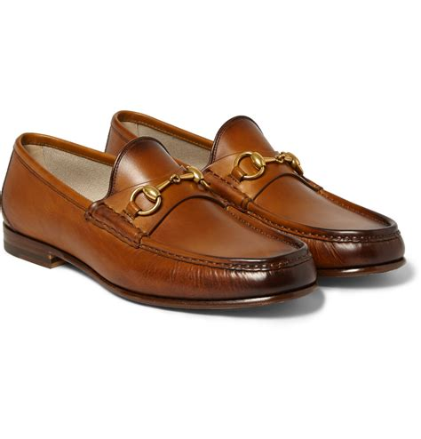 brown gucci loafers lyst gucci burnished leather horsebit loafers in brown