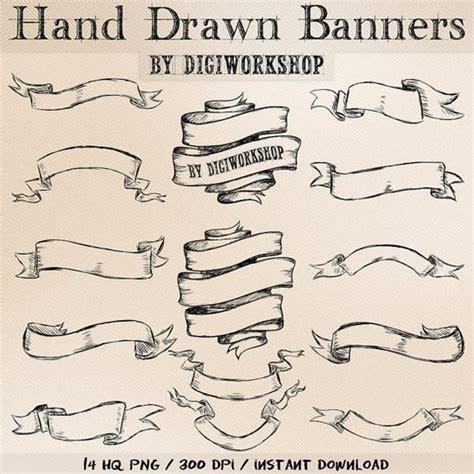 tattoo banner generator hand drawn banners clipart quot hand drawn banners quot set with