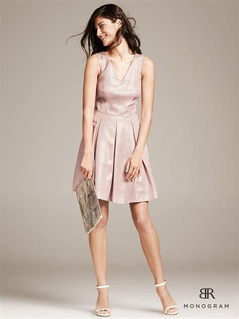 light pink metallic dress lyst banana republic monogram metallic pink fit and
