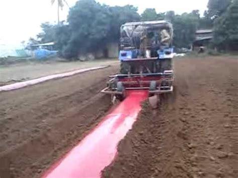 plastic mulch film drip pipe laying machine youtube