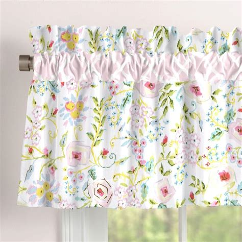 Pink And Gray Valance Pink And Gray Primrose Window Valance Rod Pocket
