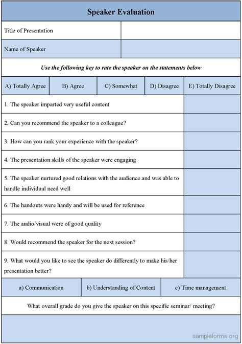 evaluation form template speaker evaluation form sle forms