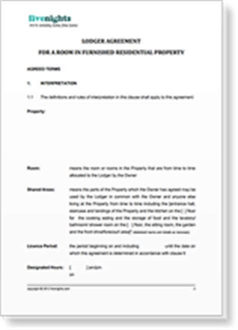 lodgers agreement template fivenights flatshare house flat rooms