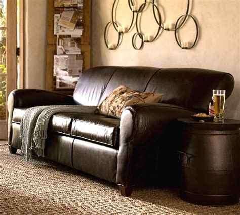 pottery barn manhattan sofa leather furniture pottery