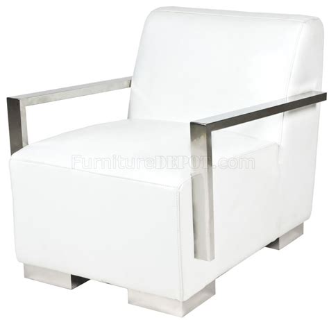 Bi Cast Leather Upholstery White Bi Cast Leather Modern Lounge Chair W Metal Arms Amp Legs