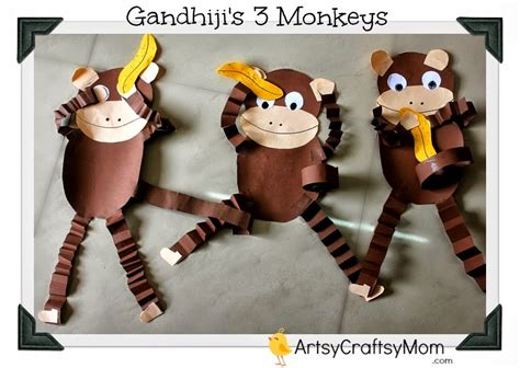 monkey craft for gandhi jayanti monkey craft with free printable artsy