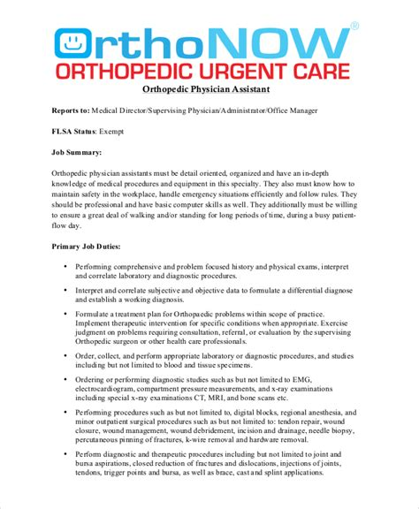 physician assistant description physician description free sle exle format