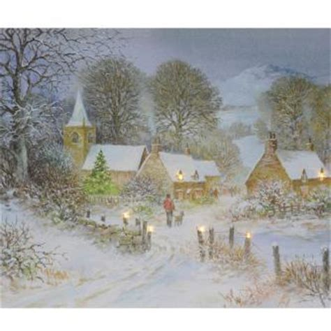 printable christmas village scene village at christmas card pack of 10 cancer research