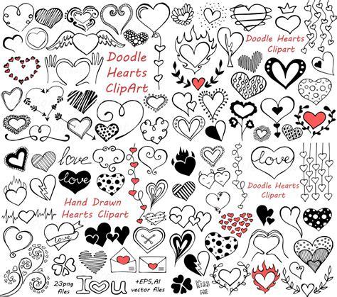 doodle a free big set of doodle hearts clipart clip digital