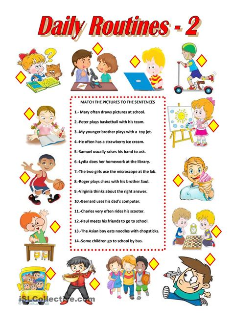 english for primary students daily routines 2 worksheet free esl printable