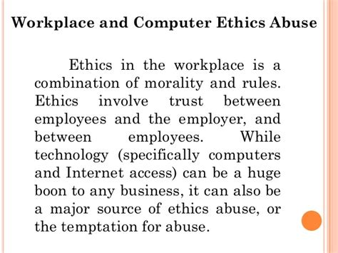 computer ethics in the workplace industry