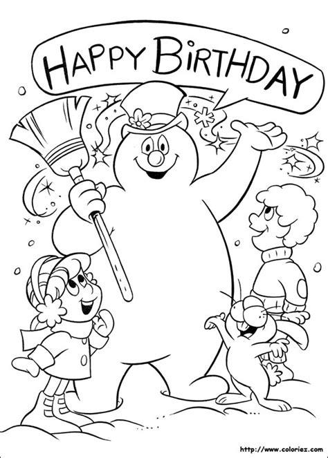 christmas coloring pages frosty snowman coloriage joyeux anniversaire