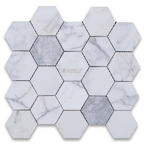 Kitchen Subway Tile Backsplash Pictures Calacatta Gold 3 Inch Hexagon Mosaic Tile Honed Marble