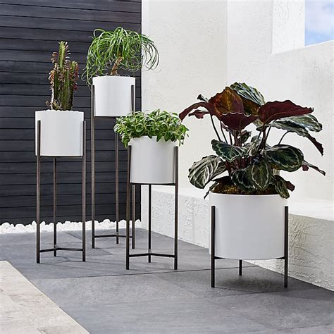 dundee white floor planters crate  barrel