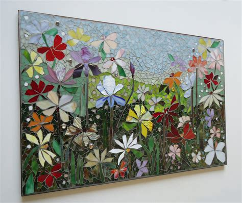glass wall murals mosaic wall stained glass wall decor floral garden indoor