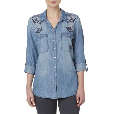 Gloria Blouse gloria vanderbilt s embellished chambray blouse