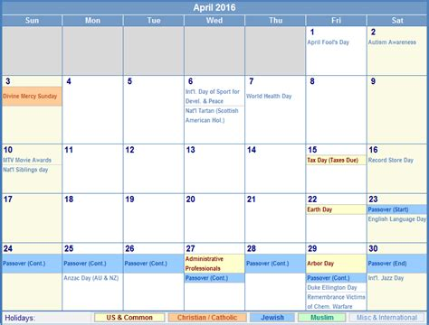 Printable Calendar With Holidays 2015 And 2016 6 Best Images Of April 2016 Calendar With Holidays