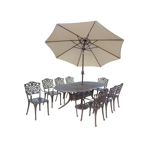 Patio Umbrella Set Oakland Living Mississippi 9 Oval Patio Dining Set With 2 Patio Umbrella Set 2105