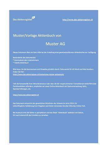Muster Aktienbuch Schweiz gratis muster aktienbuch aktienregister www das