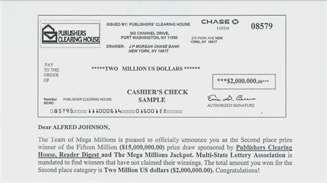 Publishers Clearing House Check Image - scheme uses publisher s clearing house name