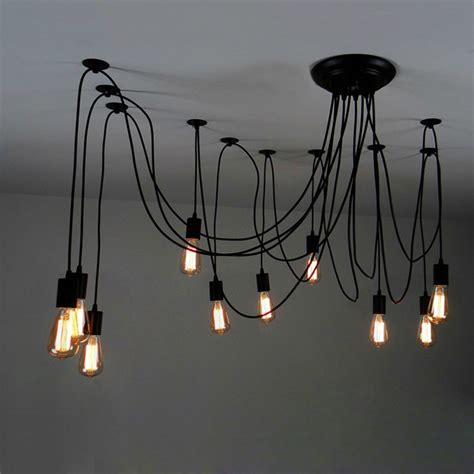 Plug In Swag Lamps Chandeliers 10 Light Adjustable Swag Multiple Pendant Black
