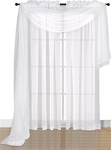 flowy curtains solid white luxurious voile sheer scarf valance soft