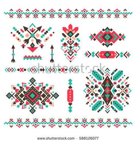 set fashion mexican navajo aztec native stock vector
