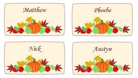 Maple Leaves And Pumpkin Thanksgiving Place Cards Thanksgiving Place Cards Template
