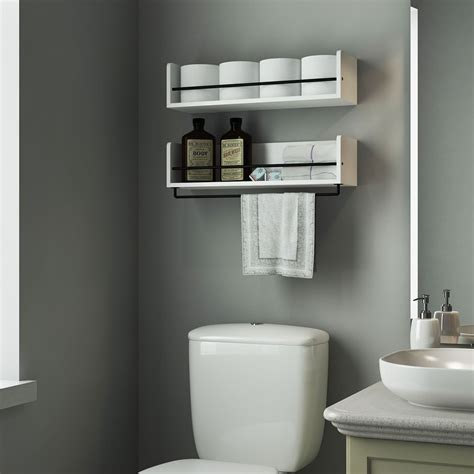 Bathroom Toiletries Rack Over Toilet With Towel Bar Storage Shelves For Bathroom