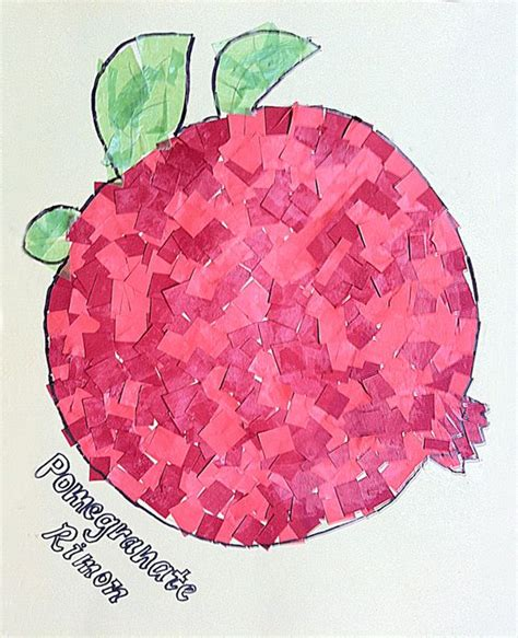 How To Make A Paper Mosaic Collage - paper mosaic kid s collage pomegranate for sukkot activity