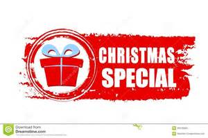 christmas special and gift box on red drawn banner stock