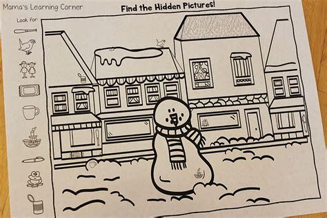 snowman hidden pictures printable snowman hidden pictures printables mamas learning corner