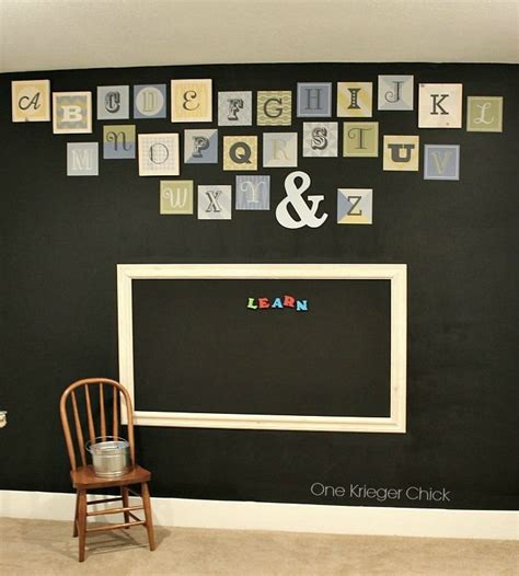 alphabet chalkboard wall in classroom playroom room