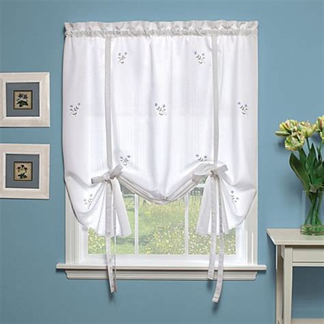 white tie curtains buy forget me not 63 inch tie up shade in white blue from