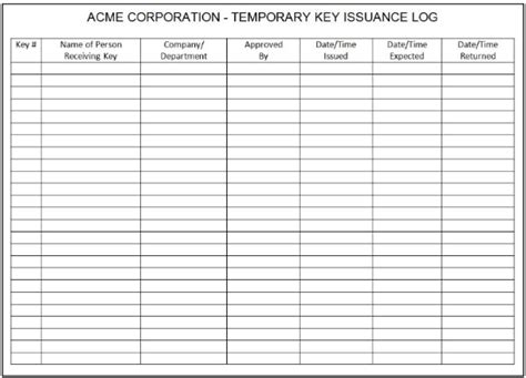 key log template key log book related keywords suggestions key