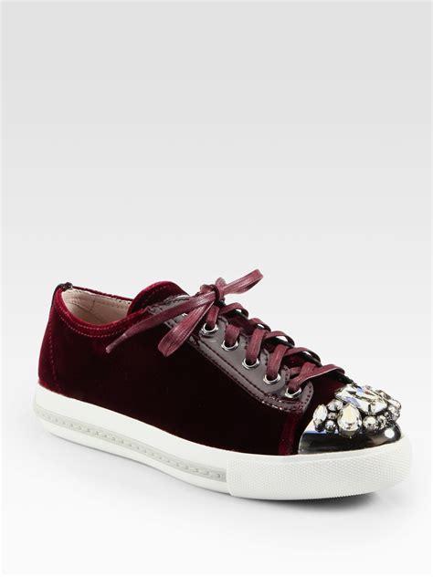 miu miu velvet sneakers miu miu velvet jeweled laceup sneakers in lyst