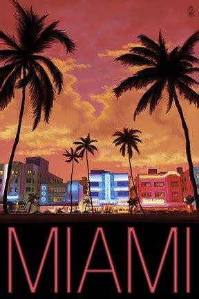 miami city palms scene fine art print  lantern press